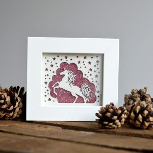 miniature unicorn paper cut print