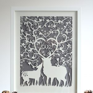 Paper Cut Stag & Doe 'Love' Laser Framed Print