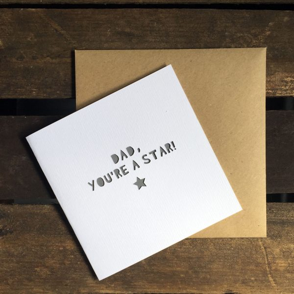 'Dad, You're A Star!' Paper Cut Father's Day Card