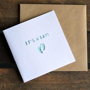 Paper cut It's A Boy! card