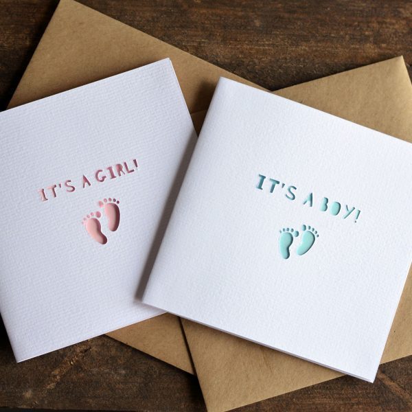 new baby paper cut cards