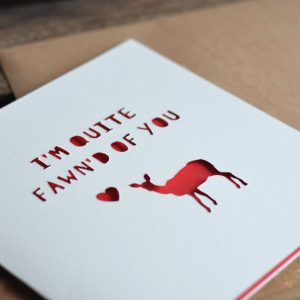 'Fawn'd Of You' Paper Cut Valentine's Day Card