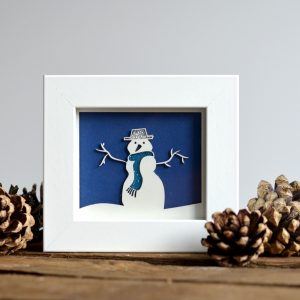 Paper Cut Miniature Snow Framed Print