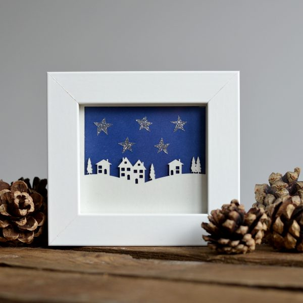 Paper Cut Miniature Alpine Village With Stars Framed Print