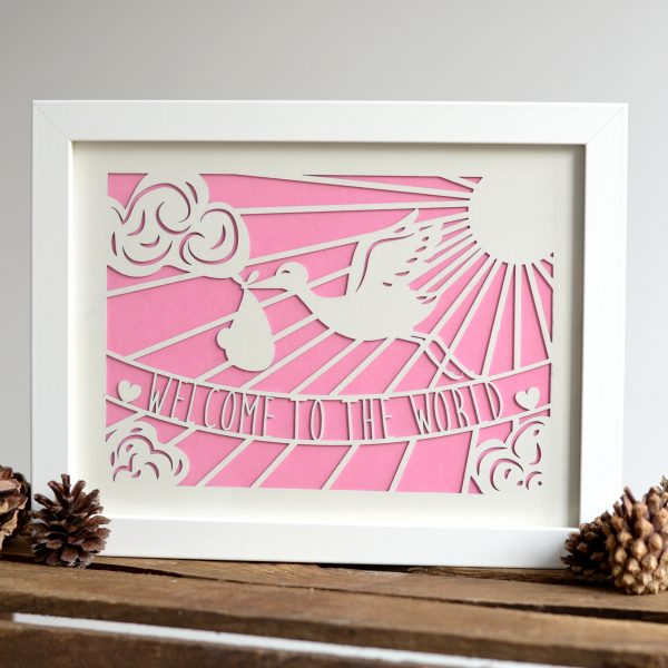 Framed 'Welcome To The World' Laser Cut Print