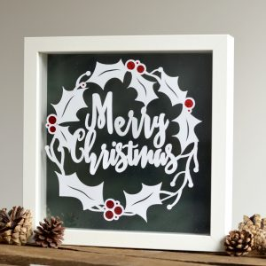 Paper Cut 'Merry Christmas' Framed Floating Print