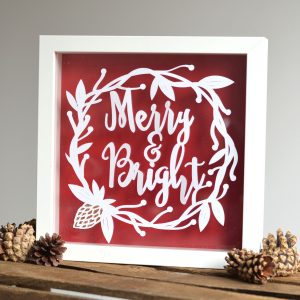 Merry and Bright paper cut