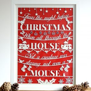 Paper Cut 'Night Before Christmas' Laser Cut Framed Print