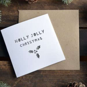 Paper Cut 'Holly Jolly Christmas' Christmas Card Winter
