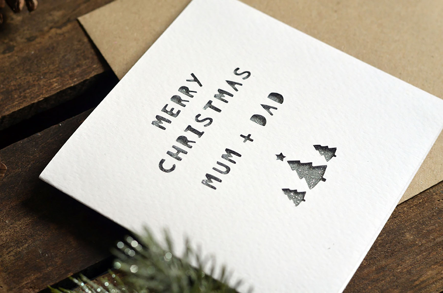 Paper Cut Personalised Name Merry Christmas Card - Laura M Designs